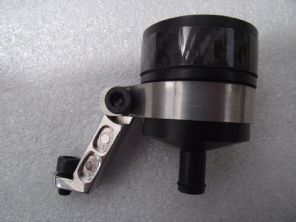 Aluminium brake or clutch reservoir, black with carbon fibre insert and mount